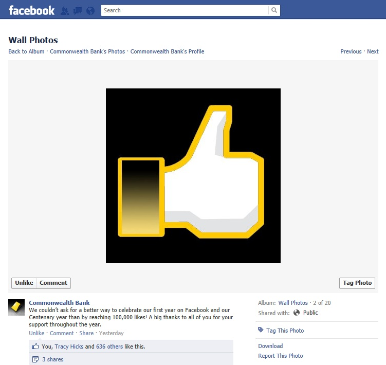 Commonwealth Bank of Australia Proudly Announces Facebook