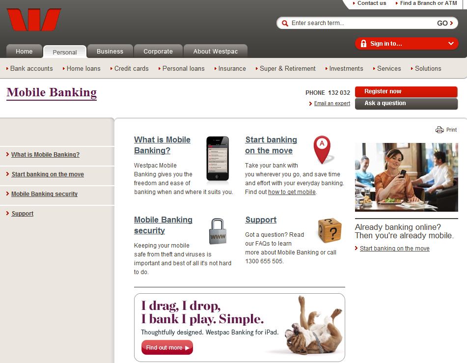Westpac Mobile Banking Homepage