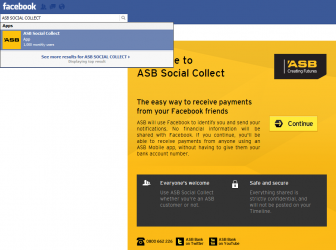 ASB Bank Social Collect Facebook Mobile Payments