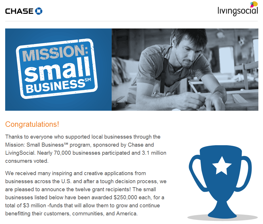 Chase Mission Small Business Winners [Social Media Banking]