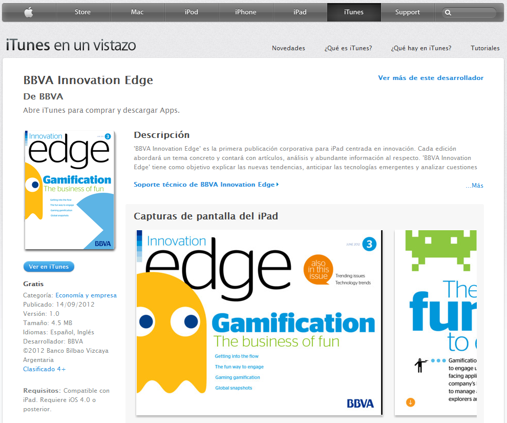 BBVA Launches Innovation Edge First iPad Magazine Banking Gamification