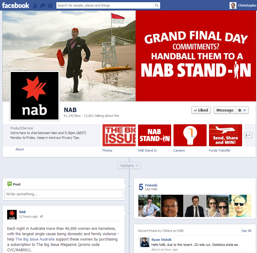 NAB National Australia Bank Facebook Page