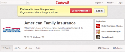 afi 400x167 How American Family Successfully Engages Customers on Pinterest [Social Media Insurance]