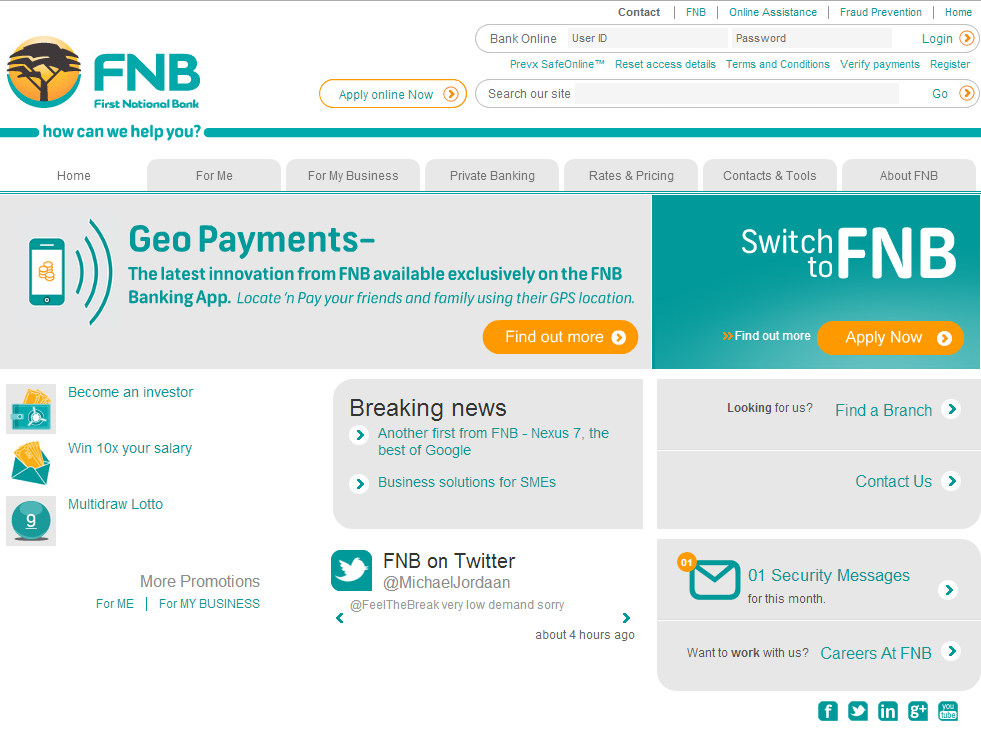 South Africa FNB CEO Social Media Banking Mobile Payments Twitter