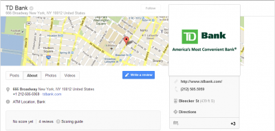 TD Bank Innovates on Google+ With Videos Aims to Drive SEO For Local Searches 400x190 TD Bank Innovates on Google+ With Videos, Aims to Drive SEO For Local Searches