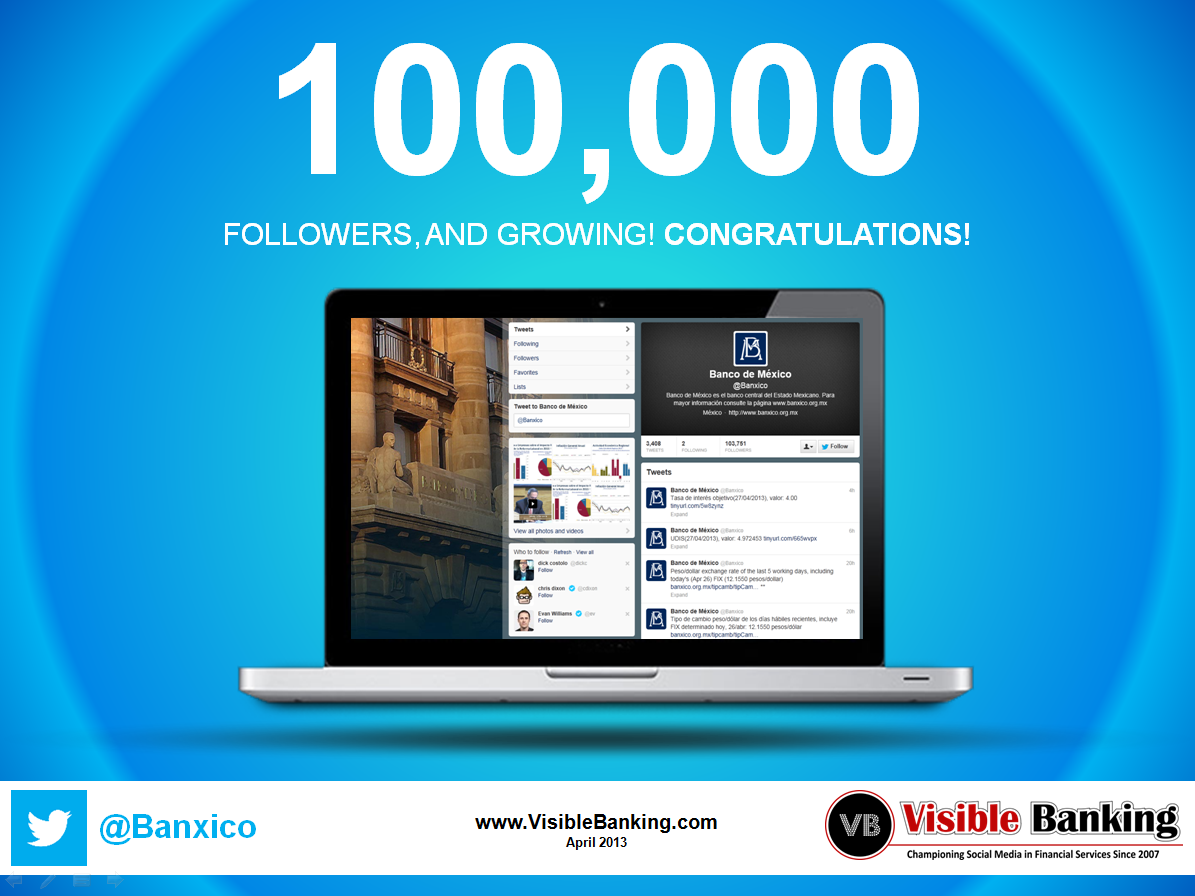 Banco de Mexico Reaches 100,000 Twitter Followers April 2013