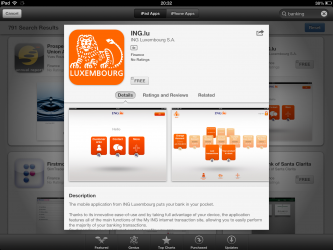 ING Luxembourg Mobile Banking App iPad April 2013