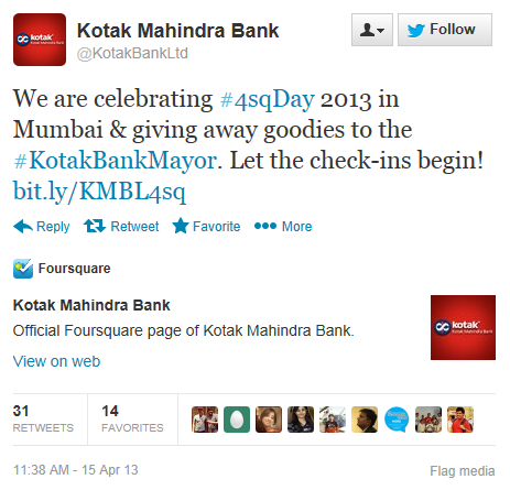 SoLoMo Kotak Mahindra-Bank Foursquare Day Twitter Contest