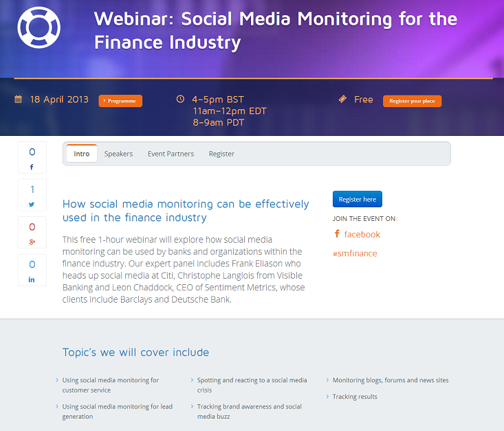 Webinar Social Media Monitoring Social Customer Care Financial Services Visible Banking