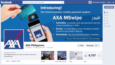 Facebook Axa MSwipe Mobile Payments Insurance Innovation