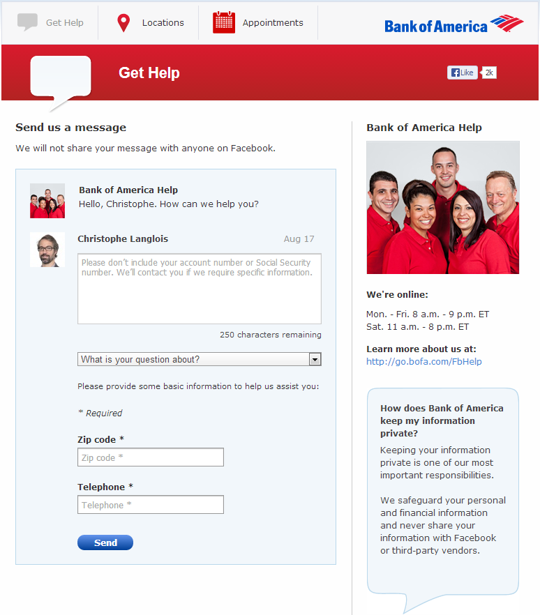 Bank of America Facebook App Get Help August 2013