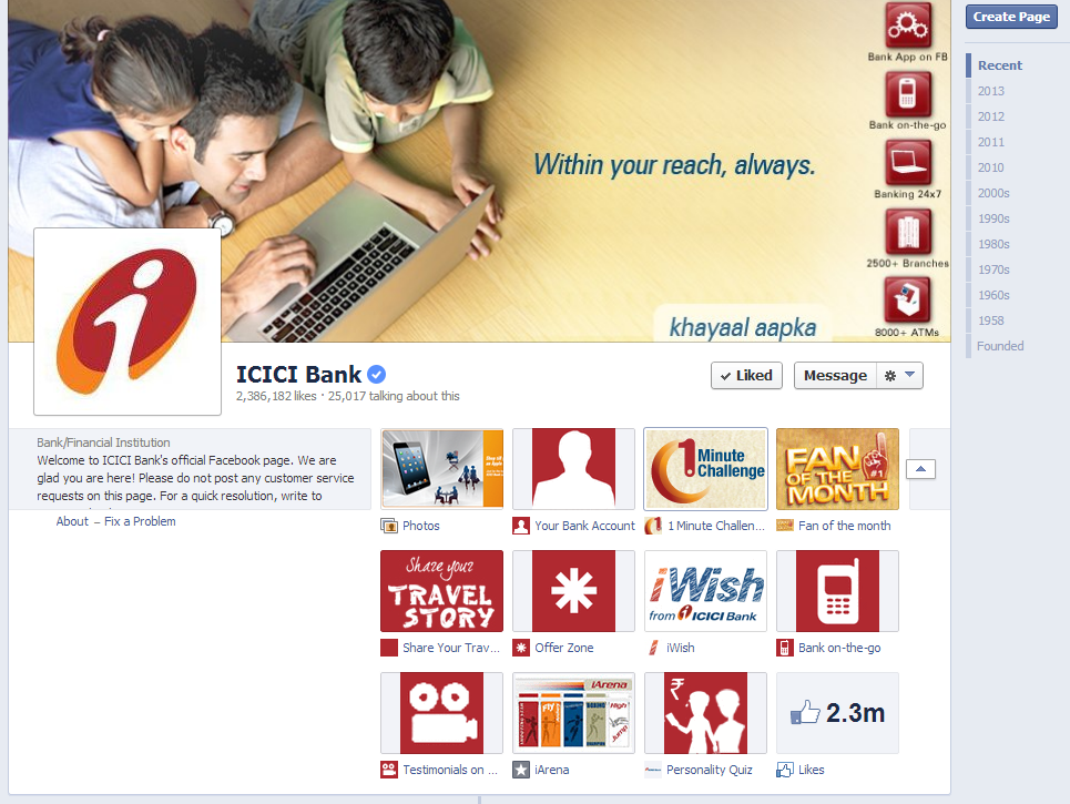 ICICI Bank Facebook Page August 2013