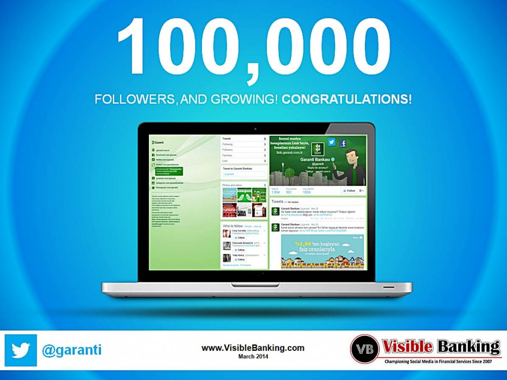 Garanti Bank Twitter Followers 100k Social Media Banking March 2014
