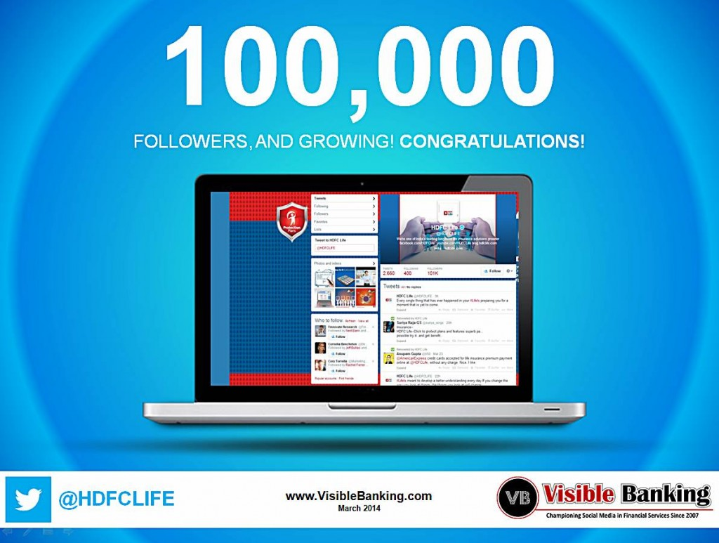 HDFC Life Twitter Followers-100k Social Media Insurance March 2014