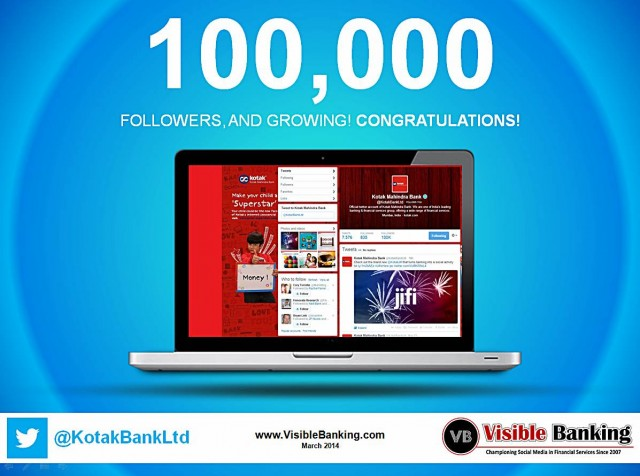 Kotak Mahindra Bank Twitter Followers 100k Social Media Banking March 2014