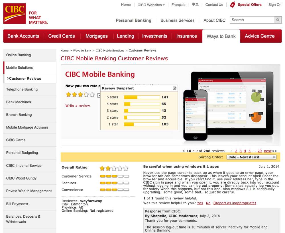 Mobile Banking CIBC Customer Reviews