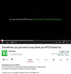 TD Bank TDThanksYou Most Successful Viral Video Banking