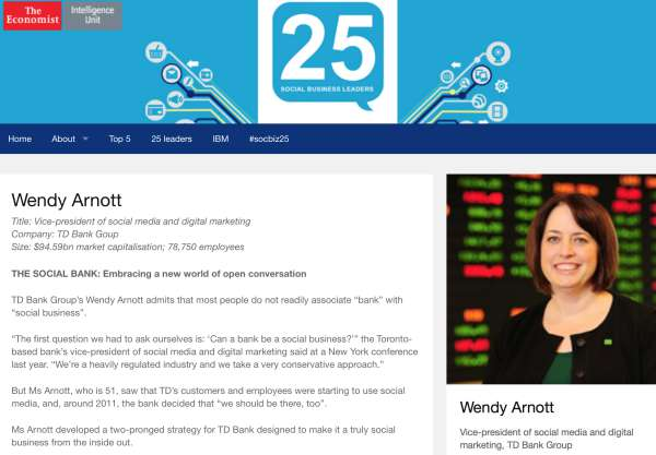 Top 25 Social Business Leaders TD Bank Wendy Arnott