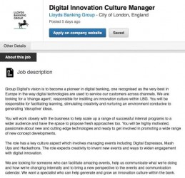 Lloyds Banking Group Digital Innovation Culture Manager