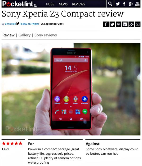 Sony Experia Z3 Compact: Best Smartphone 2014