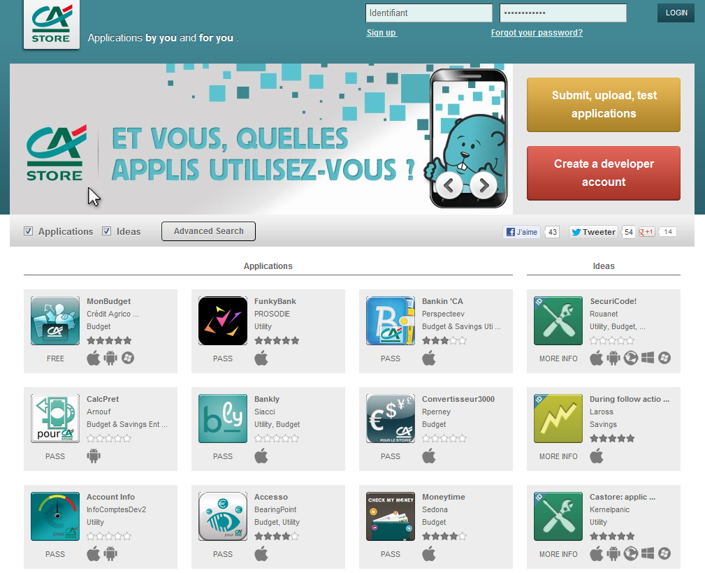 Credit Agricole CA Store Opens With 43 Mobile Apps and Ideas
