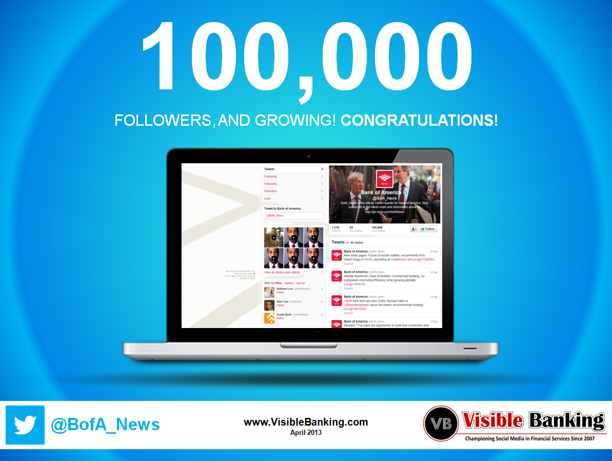 Bank of America Reaches 100,000 Twitter Followers Visible Banking April 2013